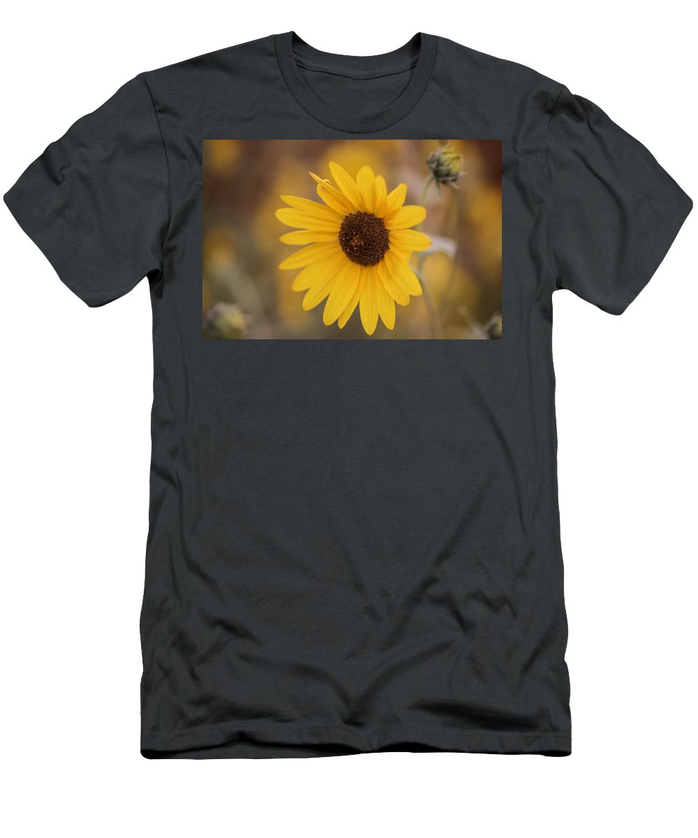 Sunflower Men's T-Shirt (Athletic Fit) featuring the photograph Sunflower Closeup by Vishwanath Bhat