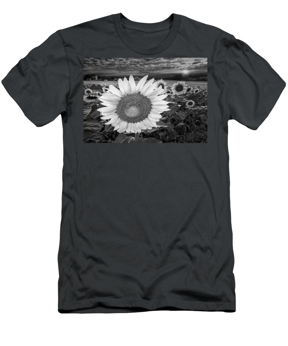 Sunflower Men's T-Shirt (Athletic Fit) featuring the photograph Sunflower Field Forever Bw by Susan Candelario