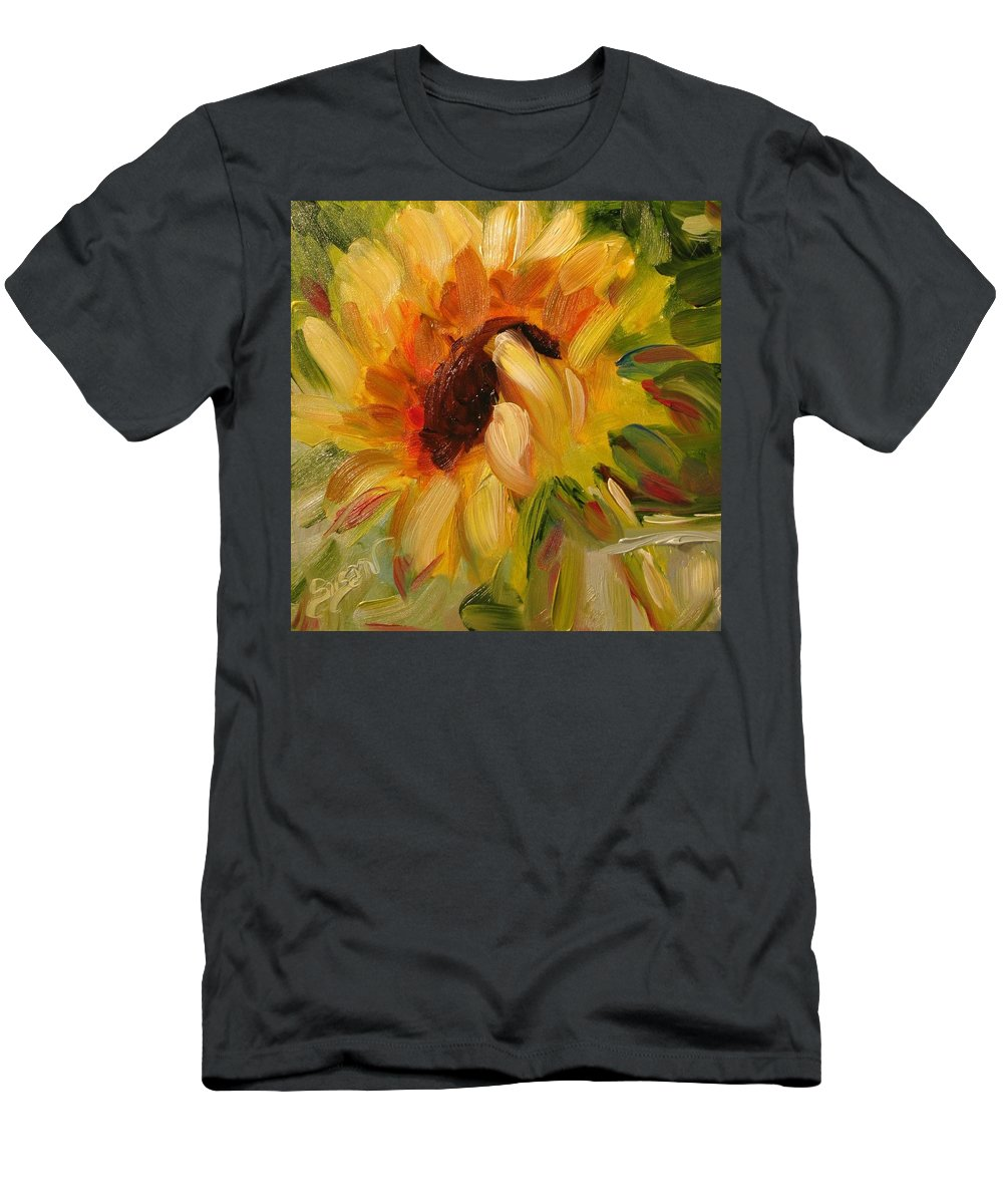 Floral Men's T-Shirt (Athletic Fit) featuring the painting Sunflower Morning by Susan Elizabeth Jones