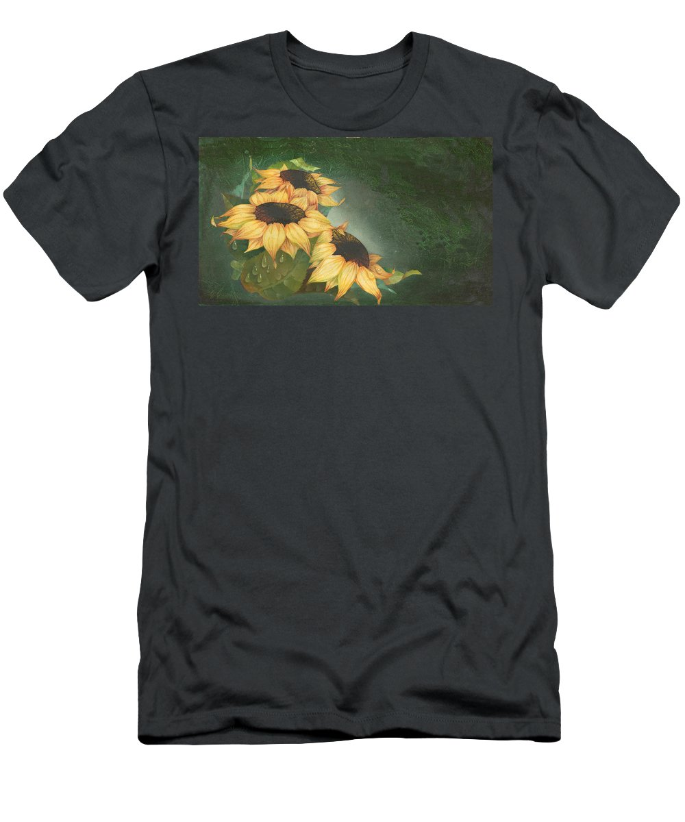 Floral Men's T-Shirt (Athletic Fit) featuring the painting Sunflowers by Doreta Y Boyd