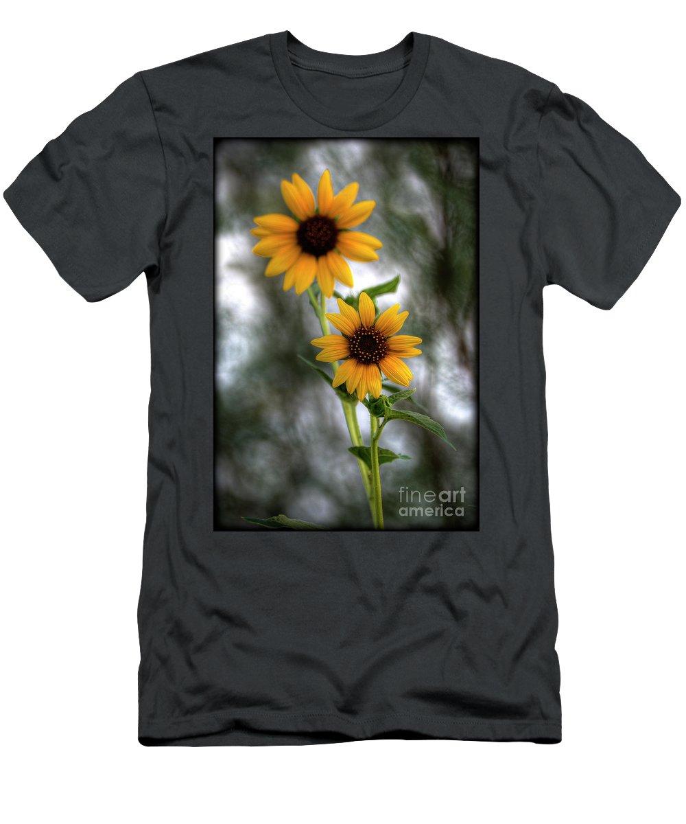 Yellow Sunflowers Men's T-Shirt (Athletic Fit) featuring the photograph Sunflowers by Saija Lehtonen