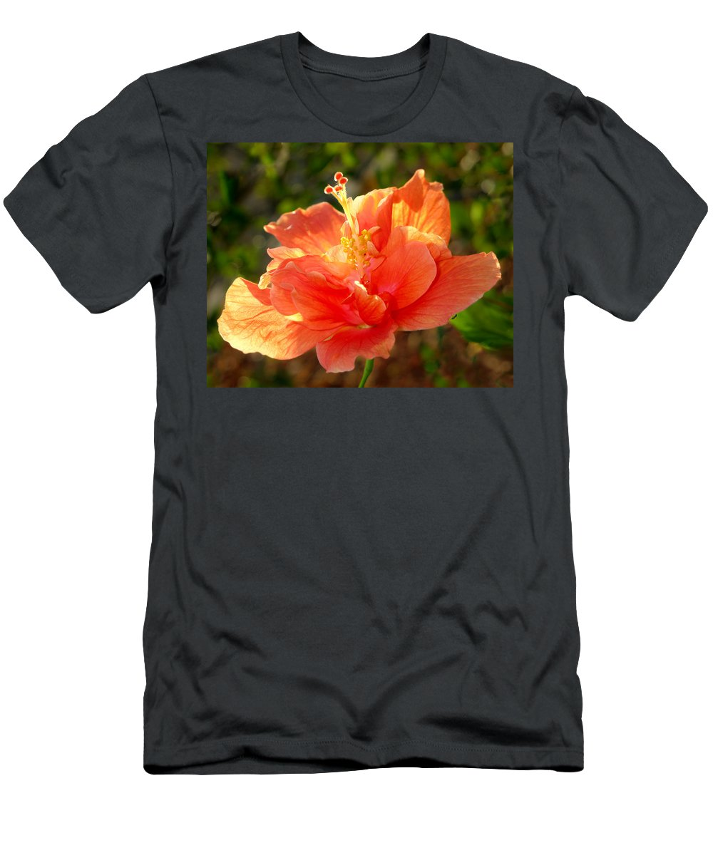 Sunlight Men's T-Shirt (Athletic Fit) featuring the photograph Sunlit Hibiscus by Francesa Miller