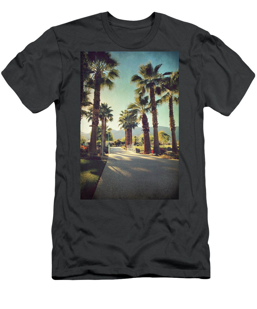 La Quinta Civic Center Park Men's T-Shirt (Athletic Fit) featuring the photograph Sunny Warm Happy by Laurie Search