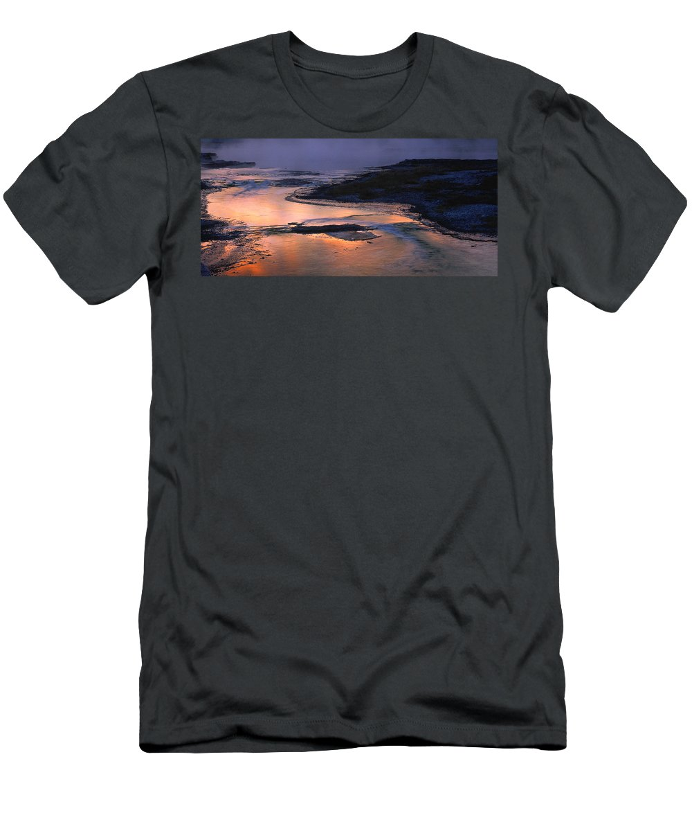 Multi Colored Men's T-Shirt (Athletic Fit) featuring the photograph Sunrise Lower Geyser Basin by Steve Archbold