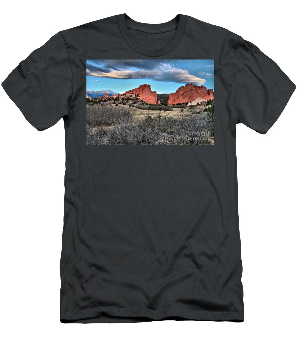Garden Of The Gods Men's T-Shirt (Athletic Fit) featuring the photograph Sunrise Of The Gods by Adam Jewell