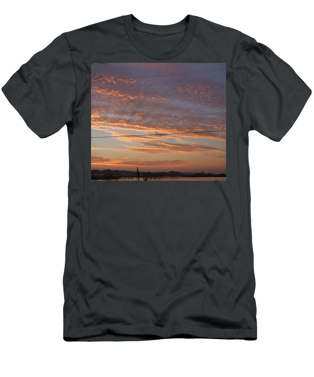 Manistee Men's T-Shirt (Athletic Fit) featuring the photograph Sunrise Over Lake Manistee by Susan Wyman