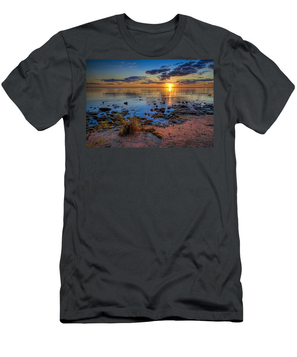 Sun T-Shirt featuring the photograph Sunrise Over Lake Michigan by Scott Norris