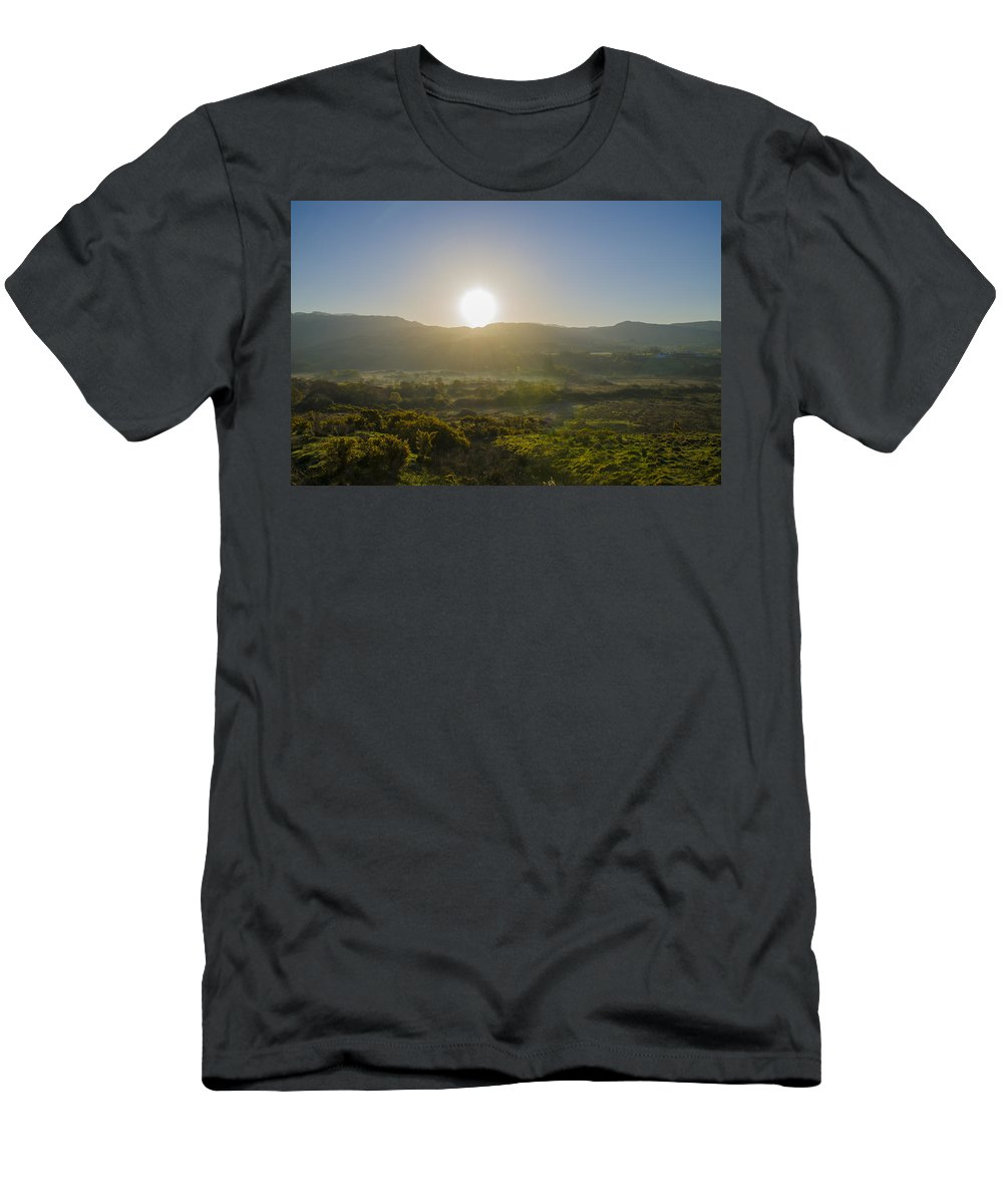 Sunrise Men's T-Shirt (Athletic Fit) featuring the photograph Sunrise Over The Bluestack Mountains - Donegal Ireland by Bill Cannon