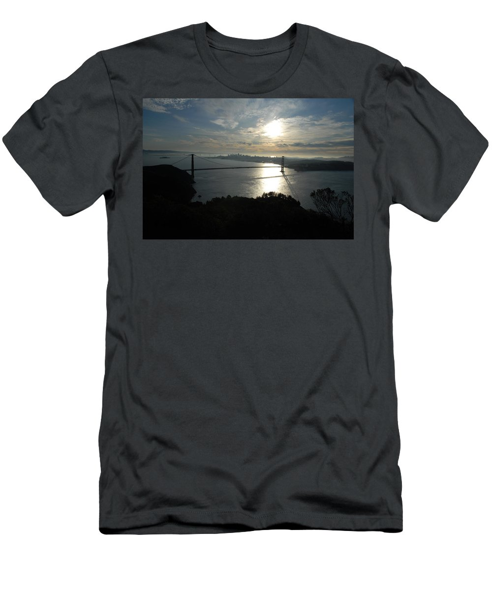San Francisco Men's T-Shirt (Athletic Fit) featuring the photograph Sunrise Over The Golden Gate by Debra Wales