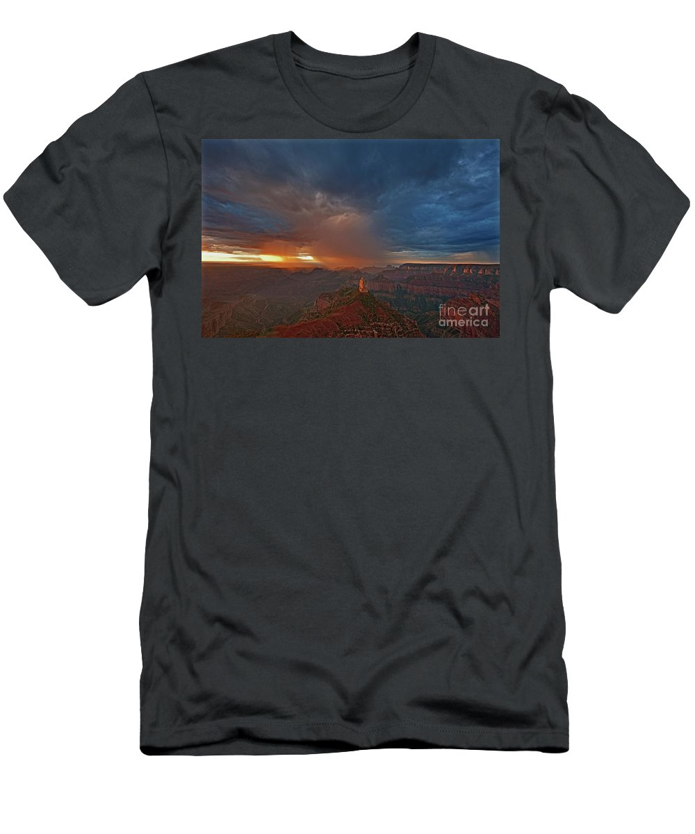 North America Men's T-Shirt (Athletic Fit) featuring the photograph Sunrise Storm North Rim Grand Canyon Arizona by Dave Welling