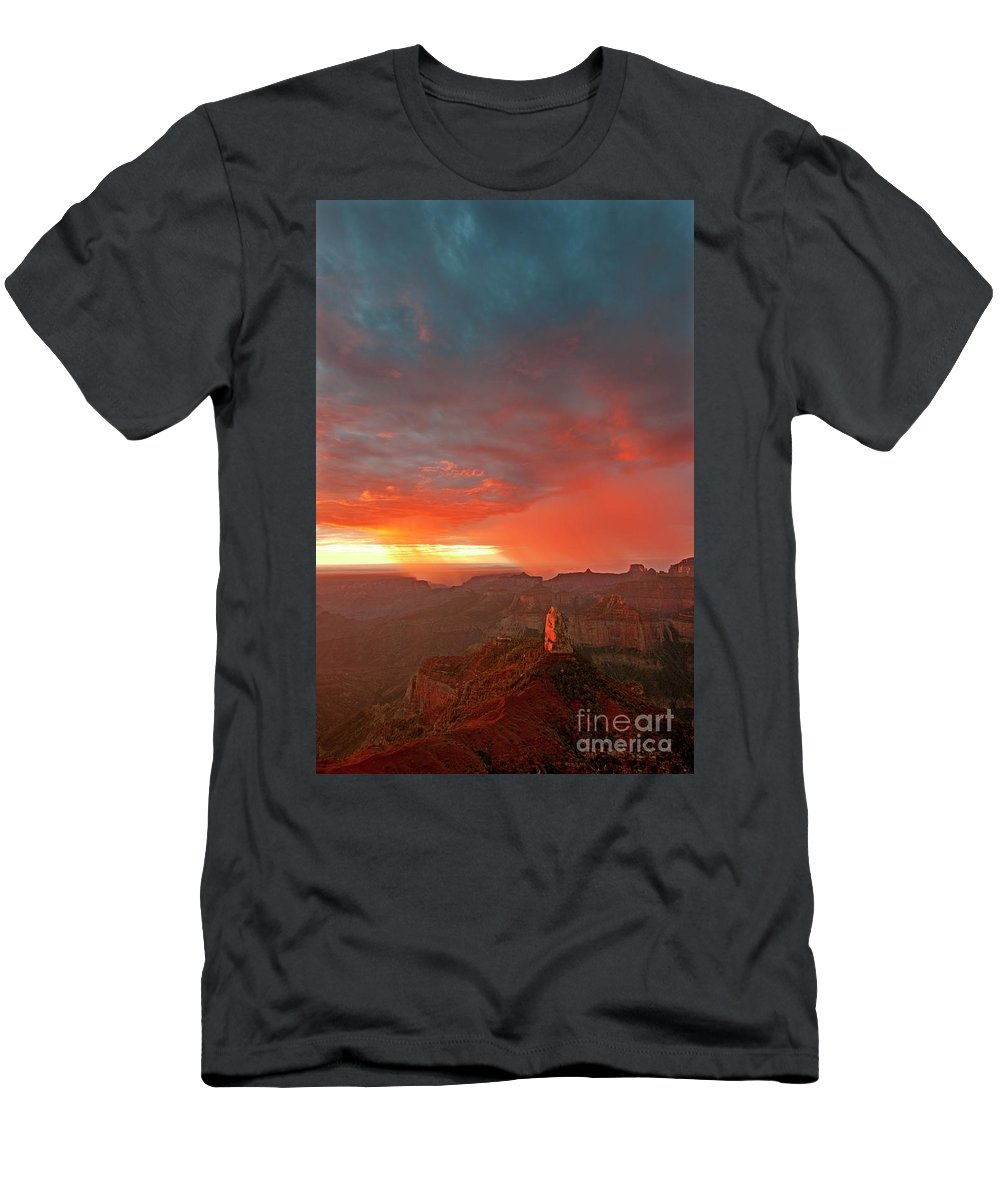North America Men's T-Shirt (Athletic Fit) featuring the photograph Sunrise Storm Point Imperial North Rim Grand Canyon Np Arizona by Dave Welling