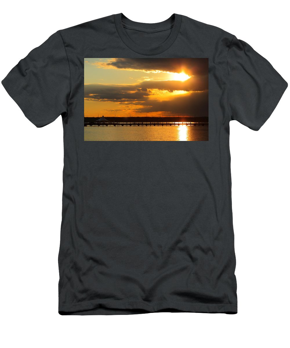 Great Men's T-Shirt (Athletic Fit) featuring the photograph Sunset At National Harbor by Scott Fracasso
