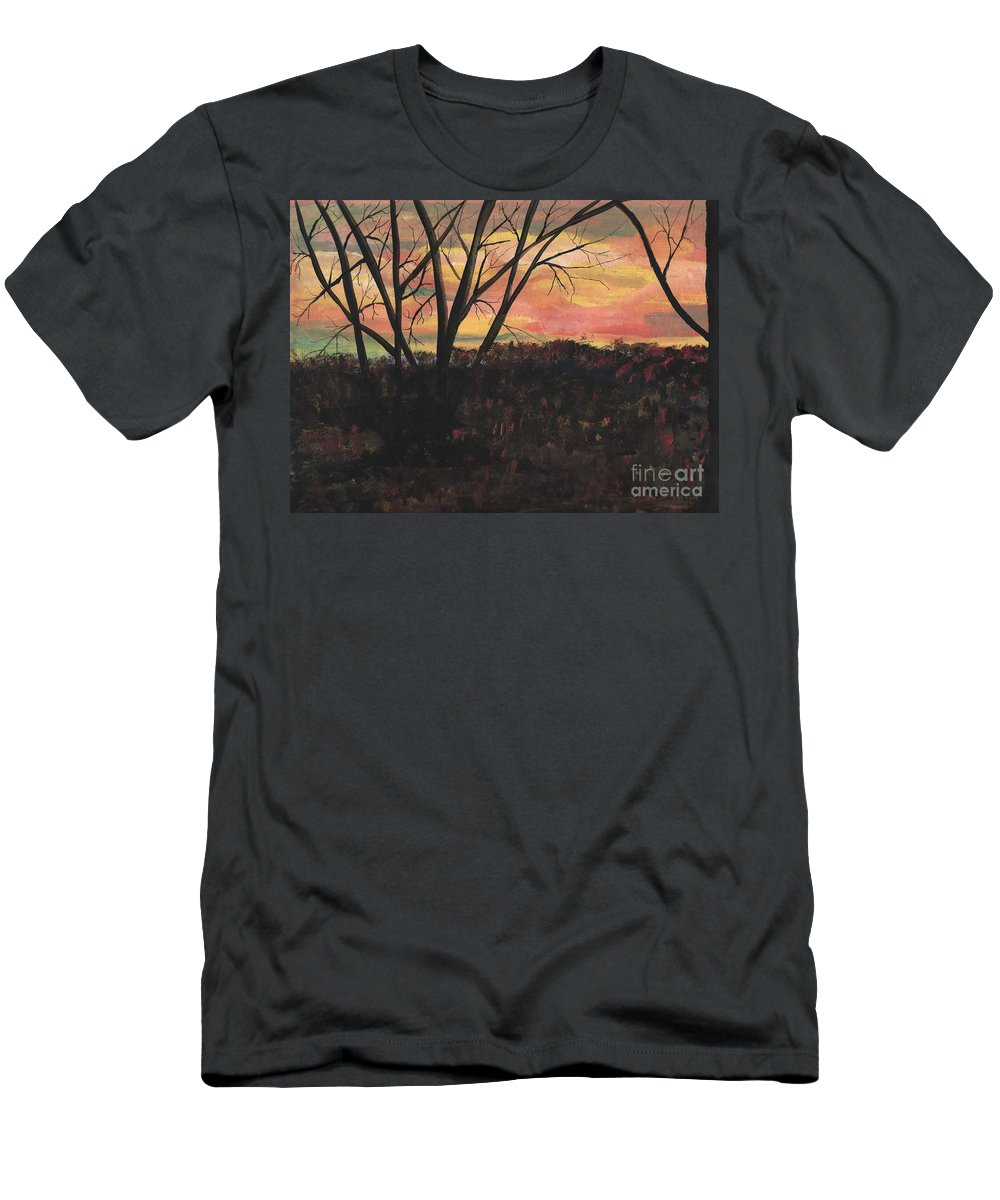 Landscape Painting - Scenery - Sunset With Beautiful Color Sky Of Pink Green Purples Blue And Foreground In Dark Colors With A Hint Of The Sky Colors With Trees In The Picture- Red Men's T-Shirt (Athletic Fit) featuring the painting Sunset At Spring City Tenn by Myrtle Joy
