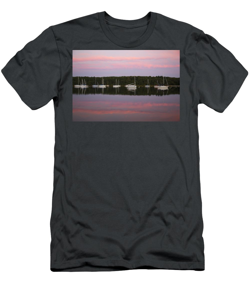 Pink Sunset Men's T-Shirt (Athletic Fit) featuring the photograph Sunset Embrace by Karol Livote