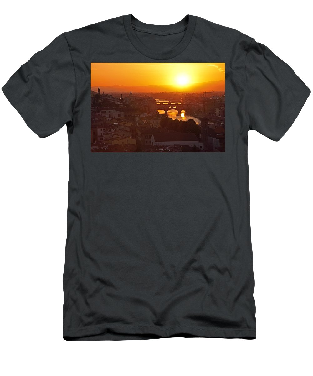 Firenze Men's T-Shirt (Athletic Fit) featuring the photograph Sunset Florence by Susan Rovira