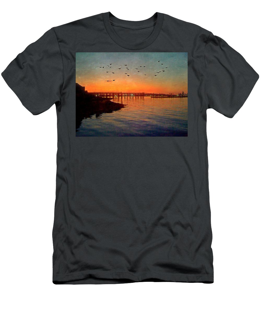 Horizontal Men's T-Shirt (Athletic Fit) featuring the photograph Sunset From Quincy Ma by Laura Duhaime