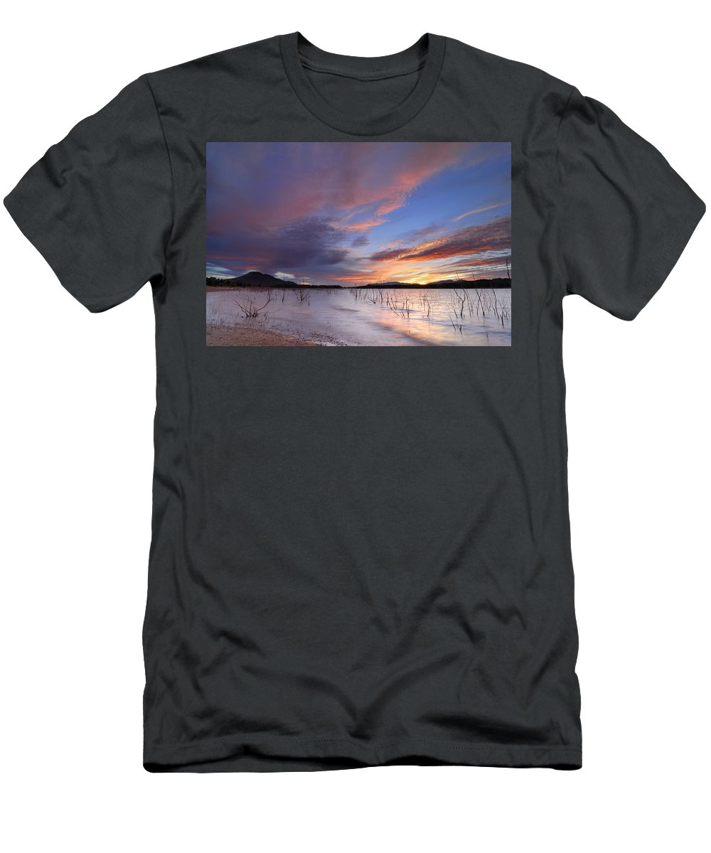Sunrise Men's T-Shirt (Athletic Fit) featuring the photograph Sunset by Guido Montanes Castillo