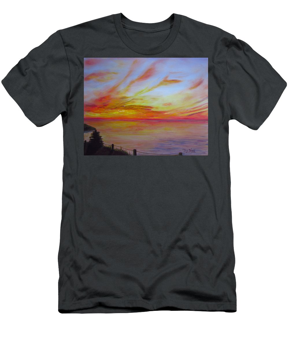 Sunset On Water Prints Men's T-Shirt (Athletic Fit) featuring the painting Sunset I by Dottie Kinn