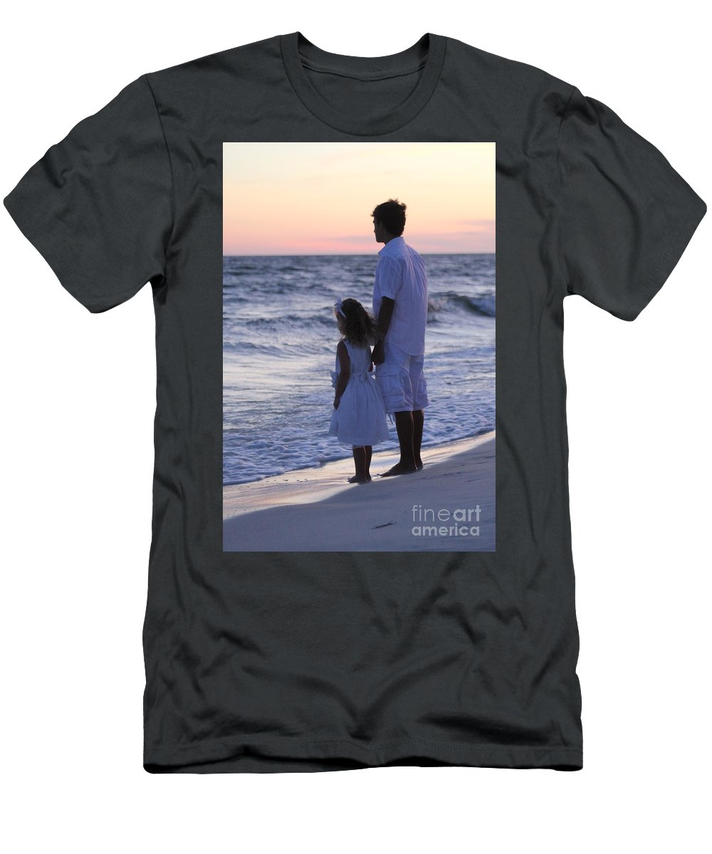 Beach Scene Men's T-Shirt (Athletic Fit) featuring the photograph Sunset Kids by Michelle Powell