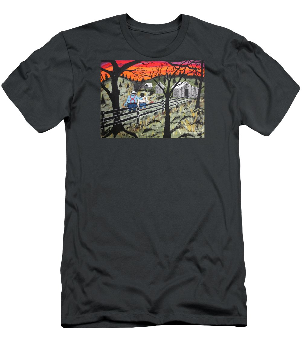 Beautiful Sky Men's T-Shirt (Athletic Fit) featuring the painting Sunset On The Fence by Jeffrey Koss