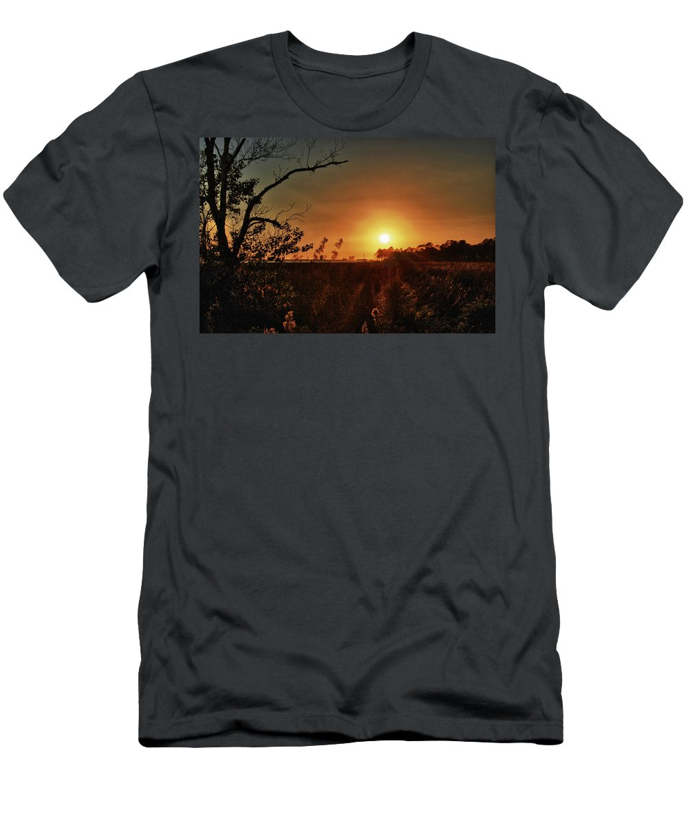 Alabama Men's T-Shirt (Athletic Fit) featuring the digital art Sunset Over Little Lagoon Bayou by Michael Thomas