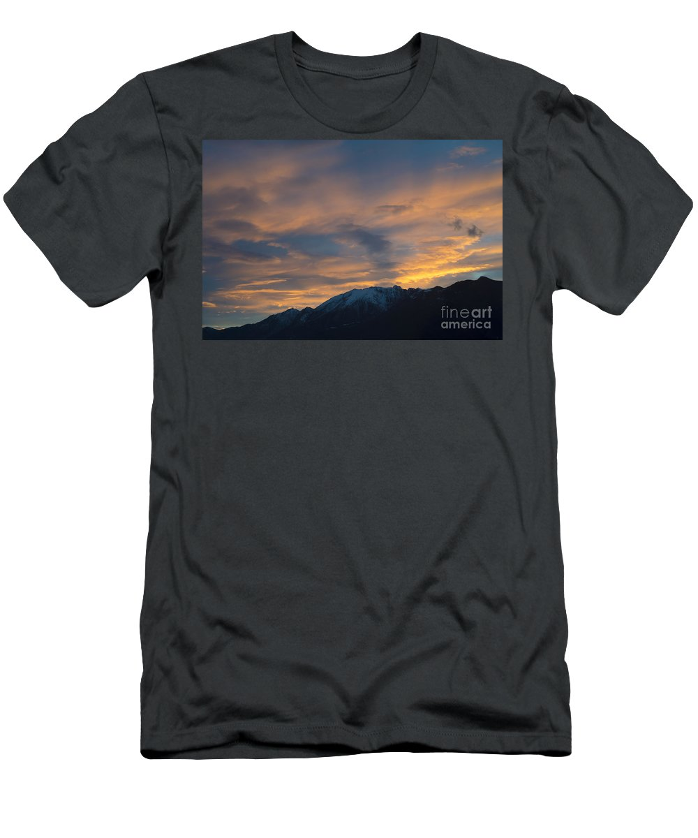 Sunset Men's T-Shirt (Athletic Fit) featuring the photograph Sunset Over The Alps by Mats Silvan