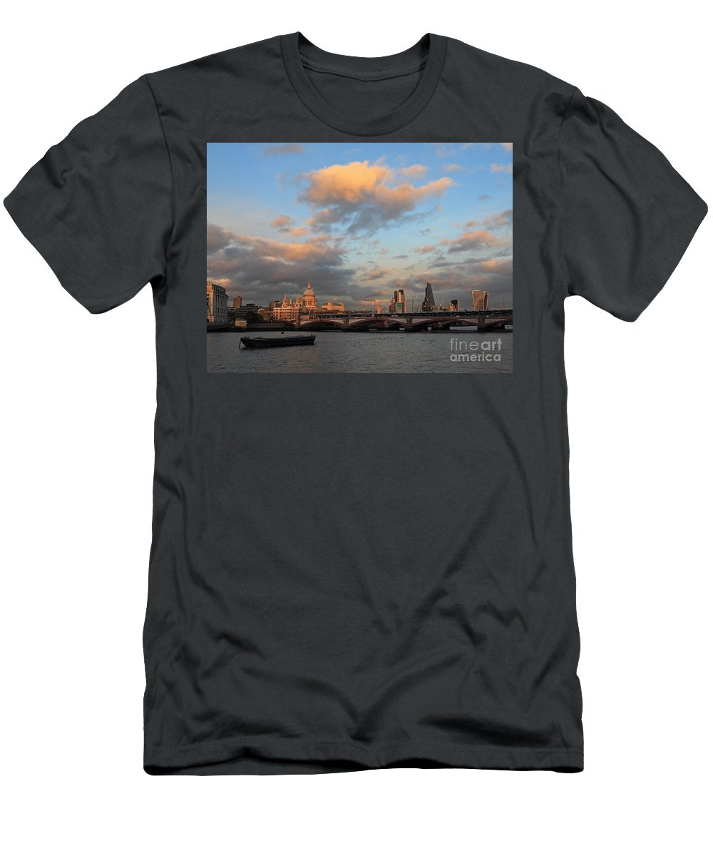 Men's T-Shirt (Athletic Fit) featuring the photograph Sunset Over The River Thames London by Julia Gavin