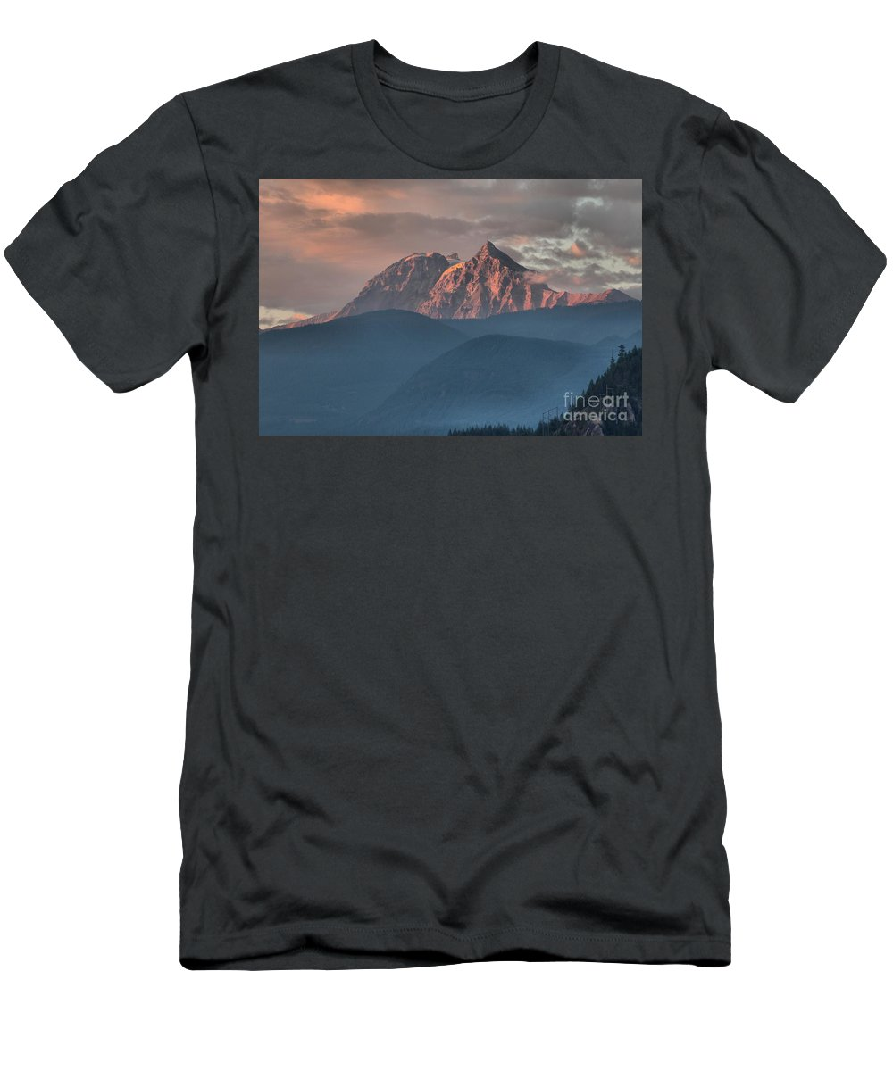 British Columbia Sunset Men's T-Shirt (Athletic Fit) featuring the photograph Sunset Over The Tantalus Mountains In Squamish by Adam Jewell