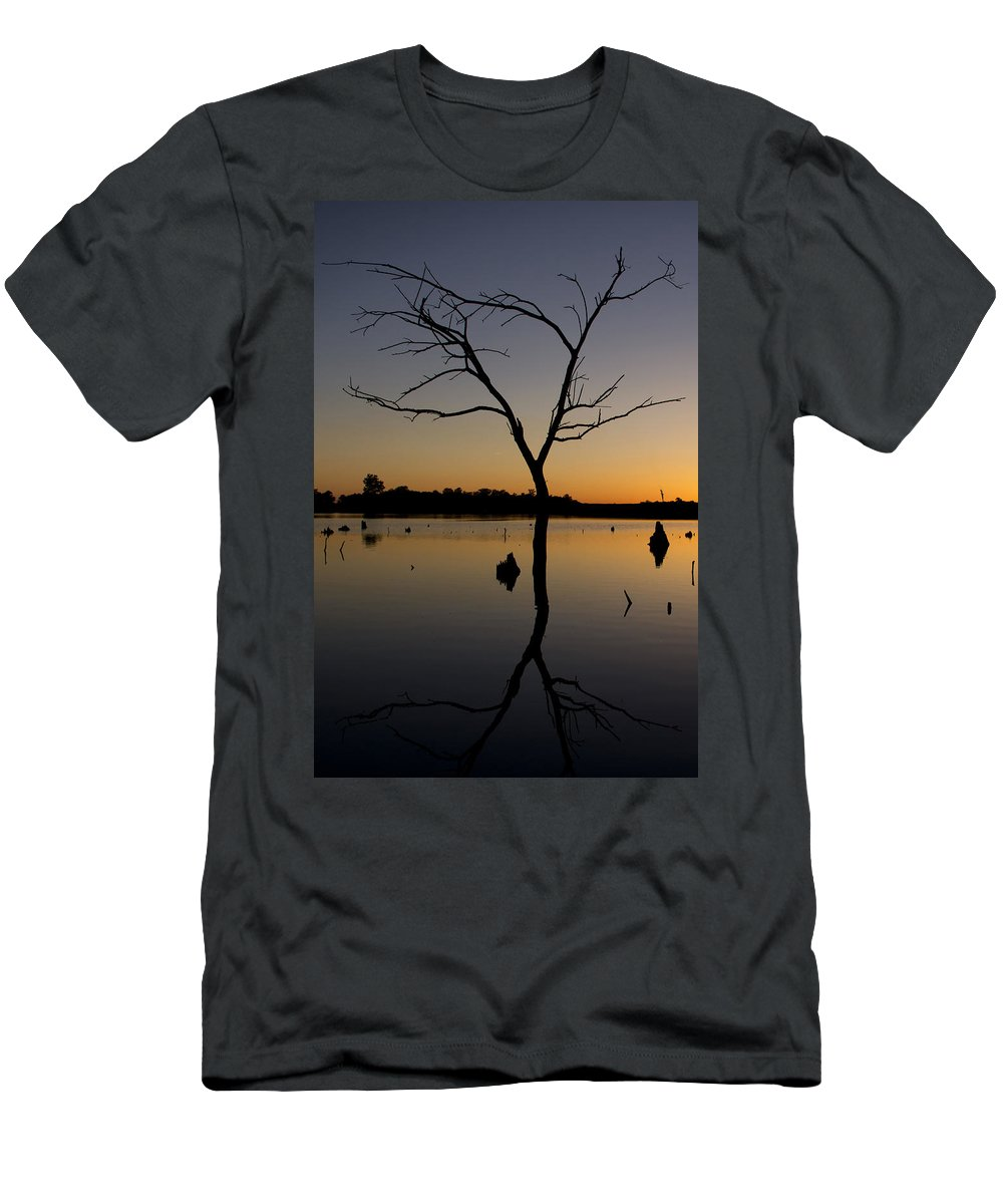 Sunset Men's T-Shirt (Athletic Fit) featuring the photograph Sunset Riverlands West Alton Mo Portrait Dsc06670 by Greg Kluempers