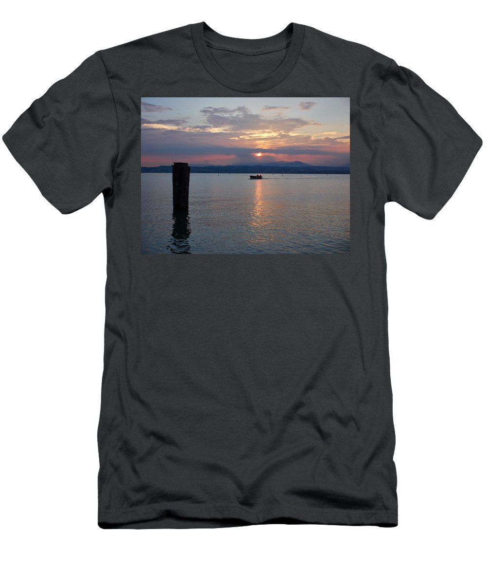 Francacorta Men's T-Shirt (Athletic Fit) featuring the photograph Sunset. Sirmione. Lago Di Garda by Jouko Lehto