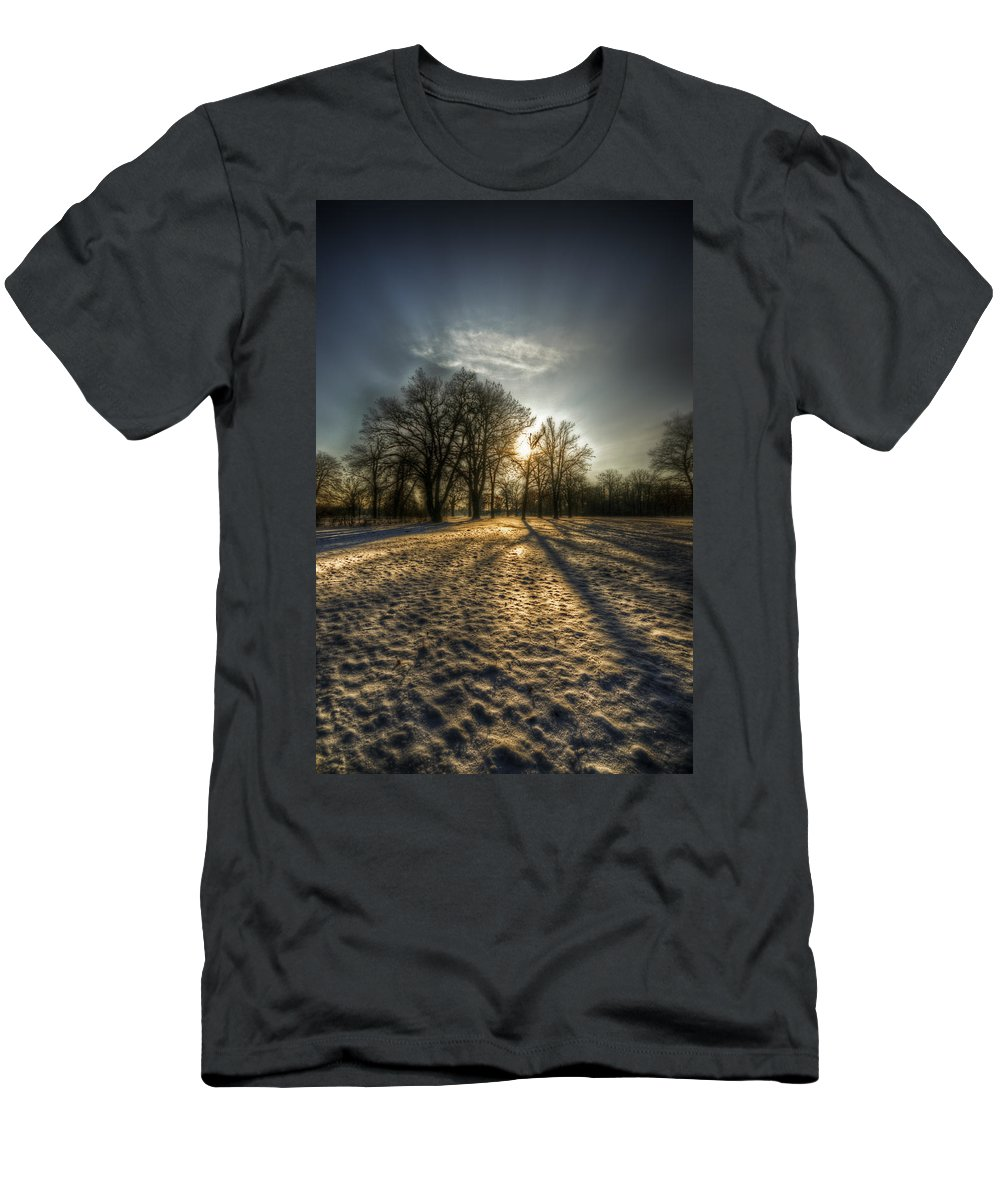 Background Men's T-Shirt (Athletic Fit) featuring the digital art Sunset Snow Trees by Nathan Wright
