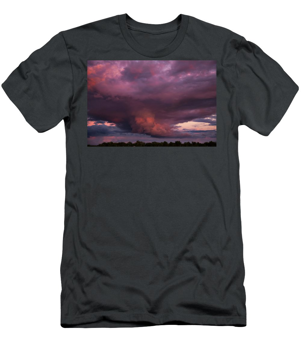 Storm Men's T-Shirt (Athletic Fit) featuring the photograph Sunset Storm by Toni Hopper