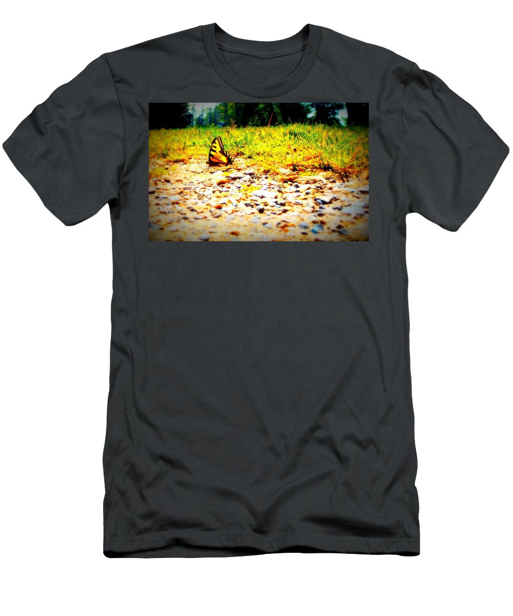 Disc Golf Men's T-Shirt (Athletic Fit) featuring the photograph Sunshine Butterfly by Alicia Forton