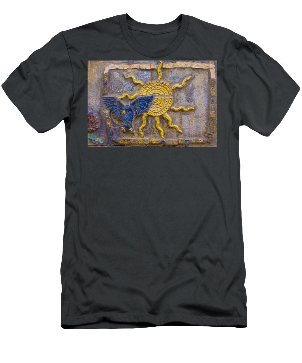 Georgia Okeefe Men's T-Shirt (Athletic Fit) featuring the painting Sunshine Loving A Bluebird by Omaste Witkowski