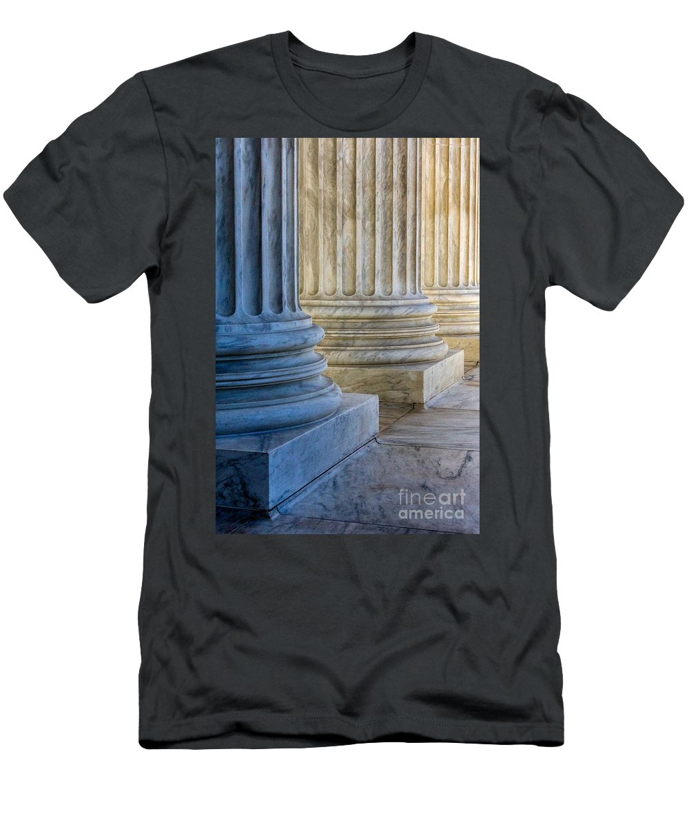 Architech Of The Capitol Men's T-Shirt (Athletic Fit) featuring the photograph Supreme Court Colunms by Jerry Fornarotto
