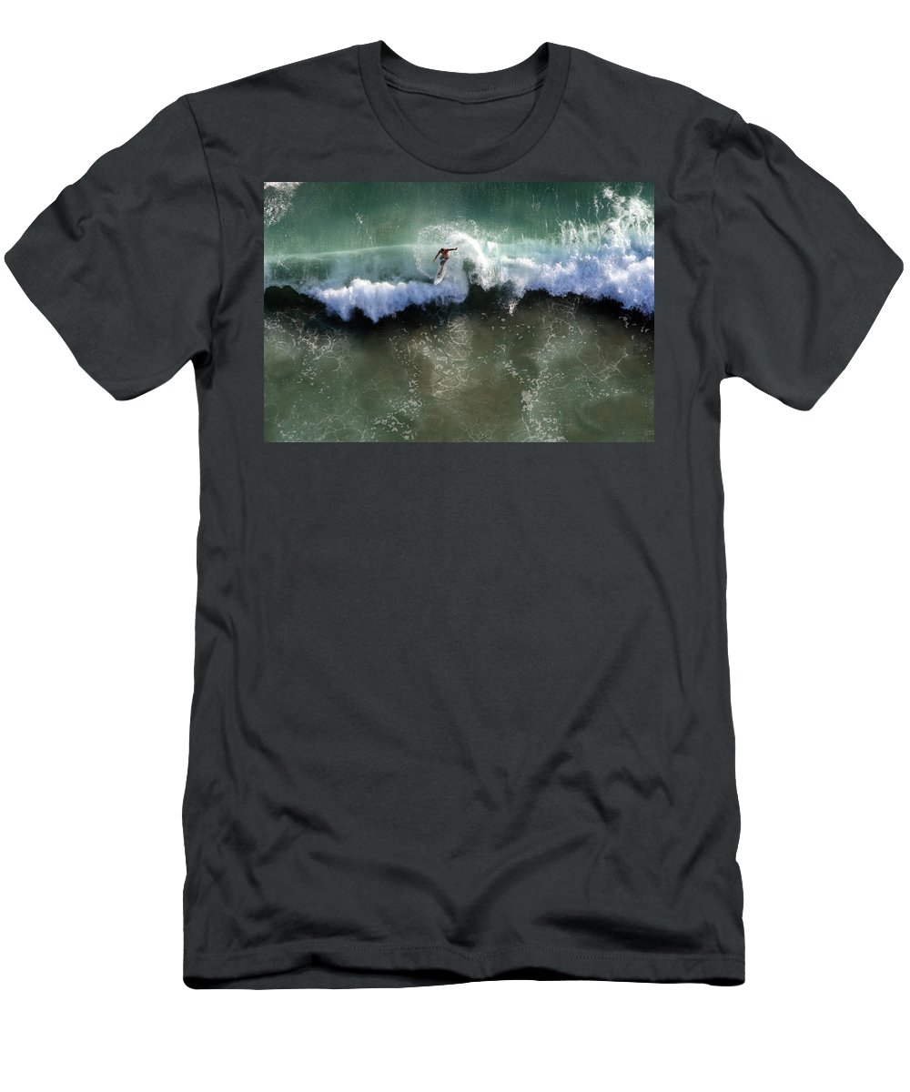 Surf Men's T-Shirt (Athletic Fit) featuring the photograph Surfer From The Sky by John Ferrante