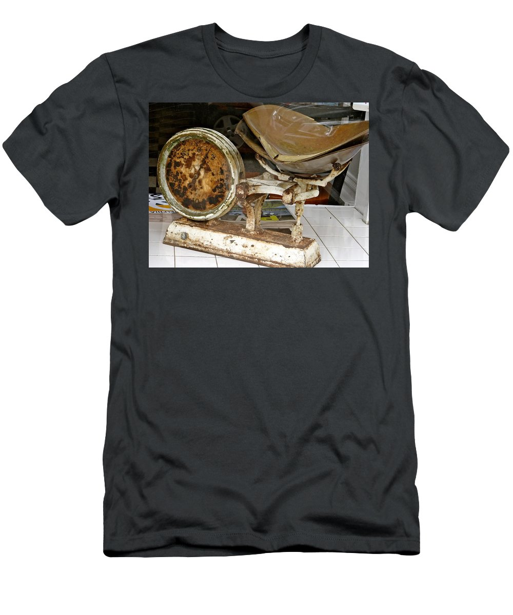 Scales And Weights Men's T-Shirt (Athletic Fit) featuring the photograph Survival Of The Fittest by Ira Shander