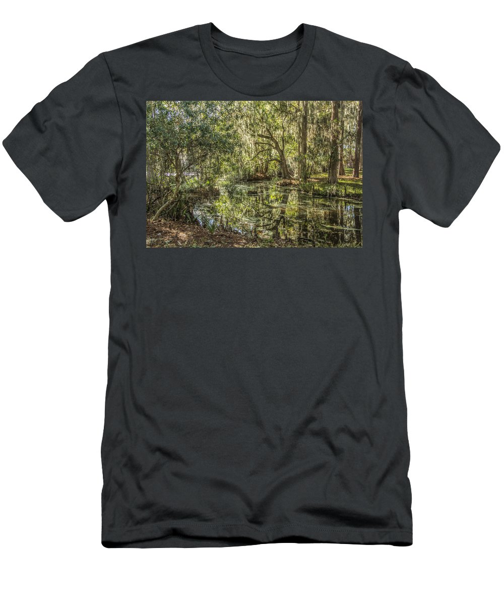 Swamp Men's T-Shirt (Athletic Fit) featuring the photograph Swamp Reflections by Jane Luxton