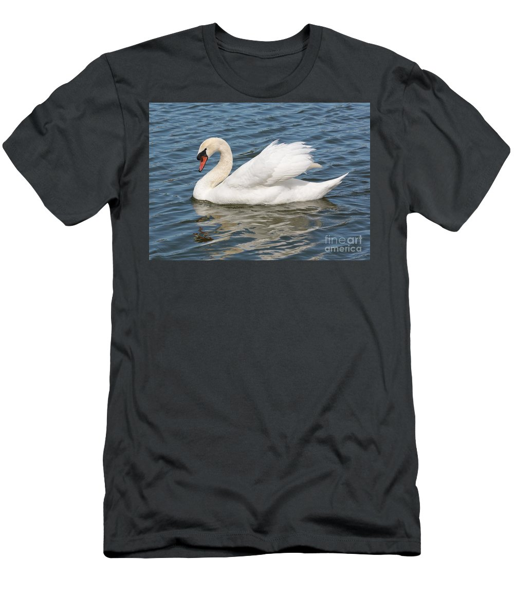 Swan Men's T-Shirt (Athletic Fit) featuring the photograph Swan On Blue Waves by Carol Groenen