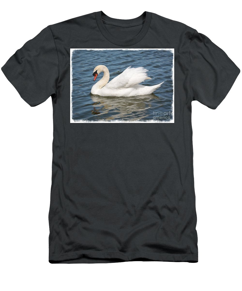 Swan Men's T-Shirt (Athletic Fit) featuring the photograph Swan On Blue Waves With Border by Carol Groenen