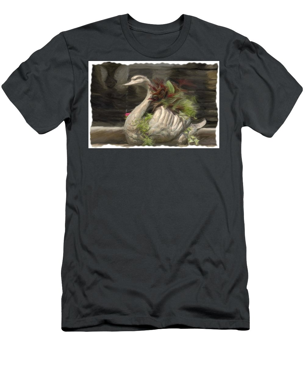 Swan Men's T-Shirt (Athletic Fit) featuring the digital art Swan With Beautiful Flowers by Jorge Perez - BlueBeardImagery
