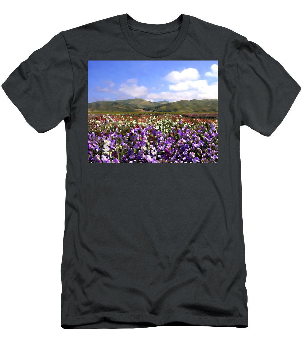 Flowers Men's T-Shirt (Athletic Fit) featuring the photograph Sweet Peas Galore by Kurt Van Wagner