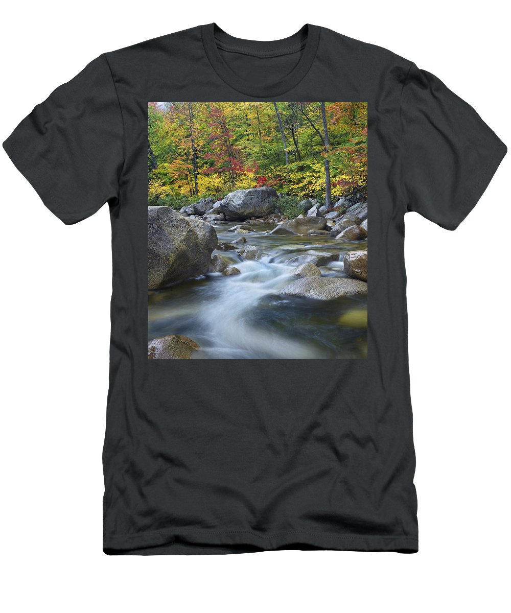 Feb0514 Men's T-Shirt (Athletic Fit) featuring the photograph Swift River In Fall White Mountains New by Tim Fitzharris