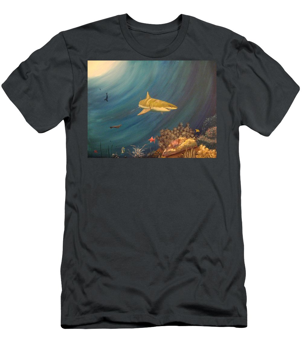 Shark Men's T-Shirt (Athletic Fit) featuring the painting Swimming With Sharks by Nick Robinson