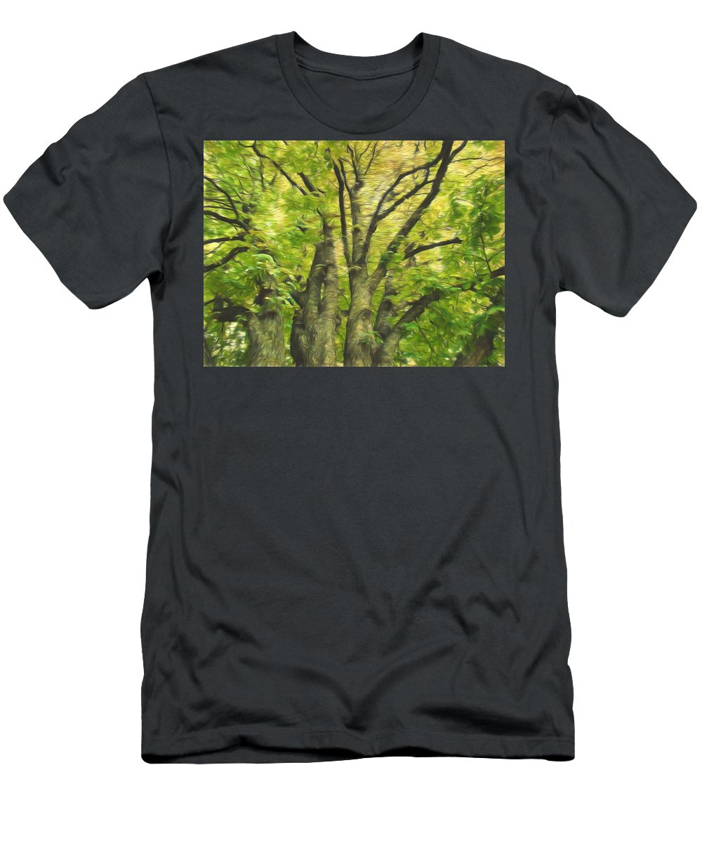 Green Tree Men's T-Shirt (Athletic Fit) featuring the photograph Swirls Of Green by Alice Gipson