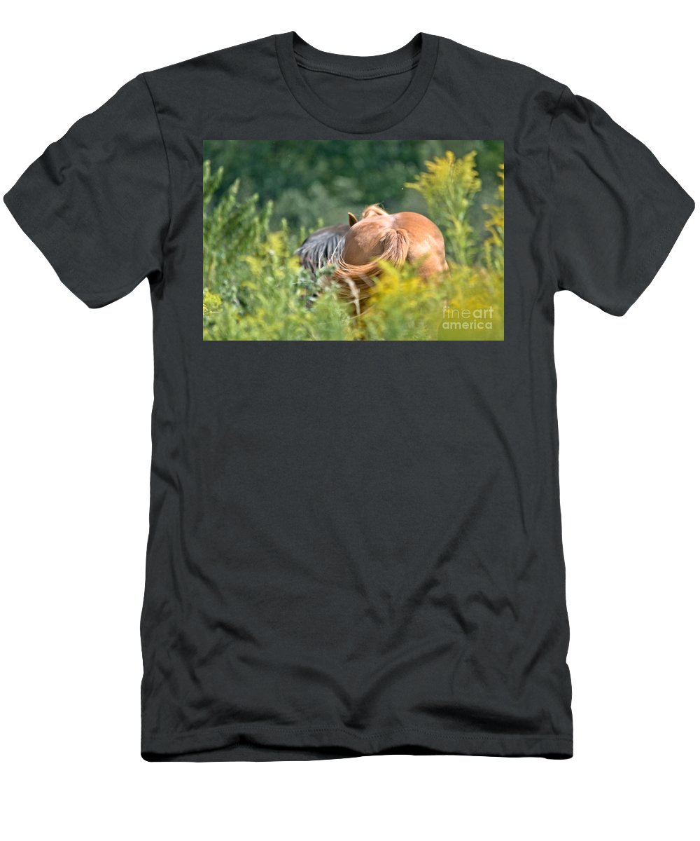 Equine Art Men's T-Shirt (Athletic Fit) featuring the photograph Swishing Tails by Cheryl Baxter
