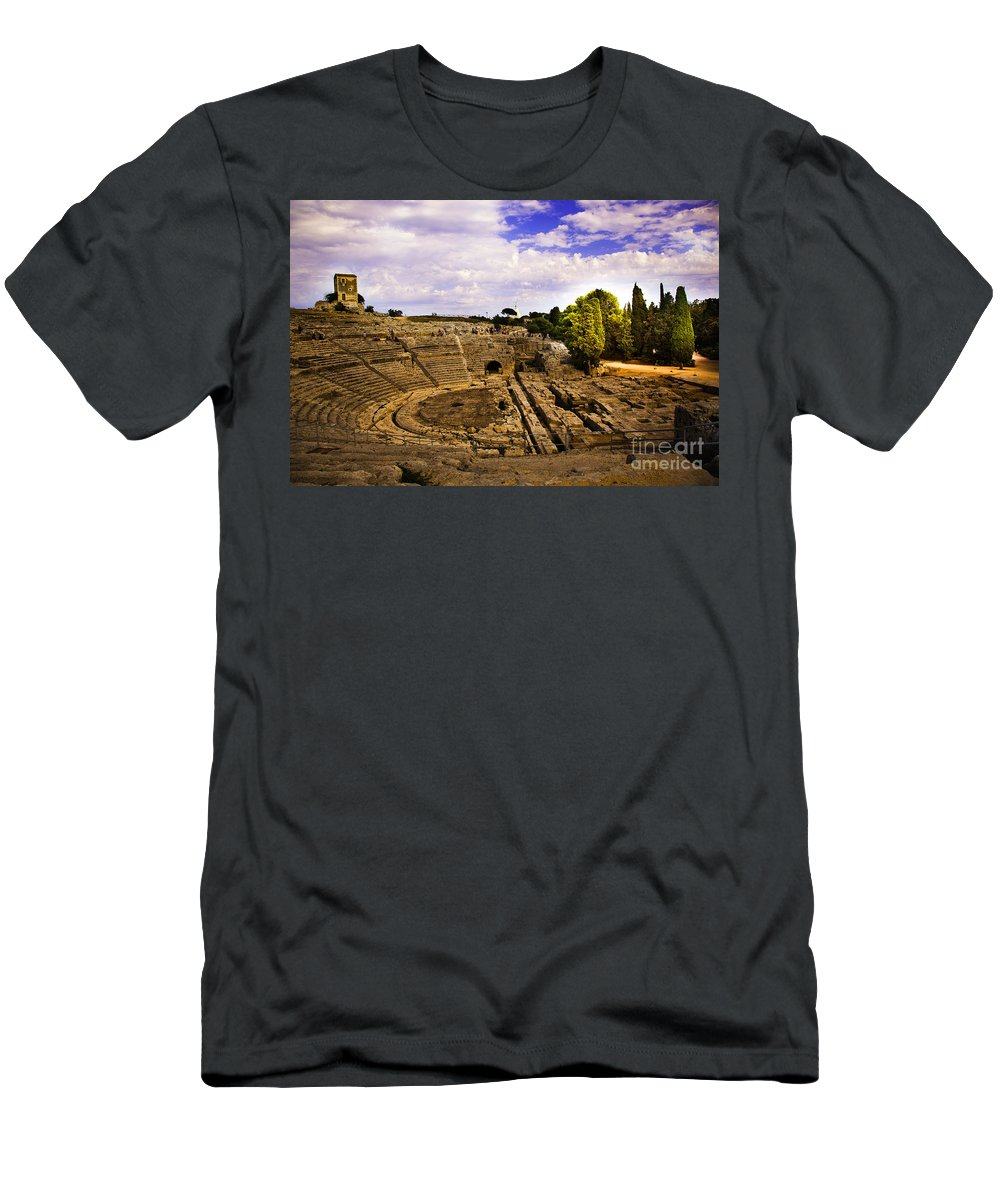 Ampitheater Men's T-Shirt (Athletic Fit) featuring the photograph Syracuse Ampitheatre II - Sicily by Madeline Ellis