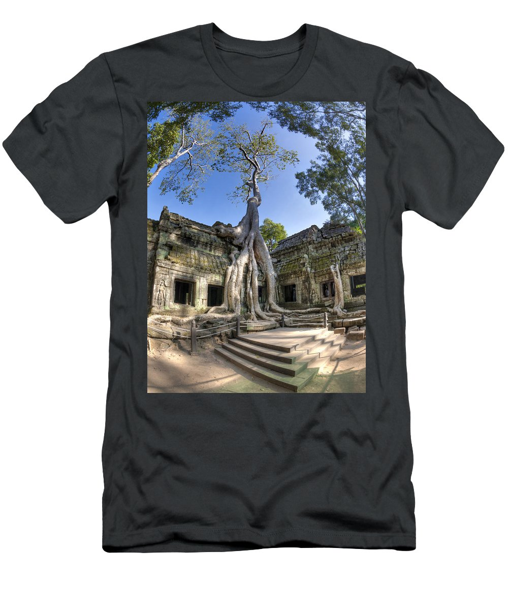 Temple Men's T-Shirt (Athletic Fit) featuring the photograph Ta Prohm by Alexey Stiop