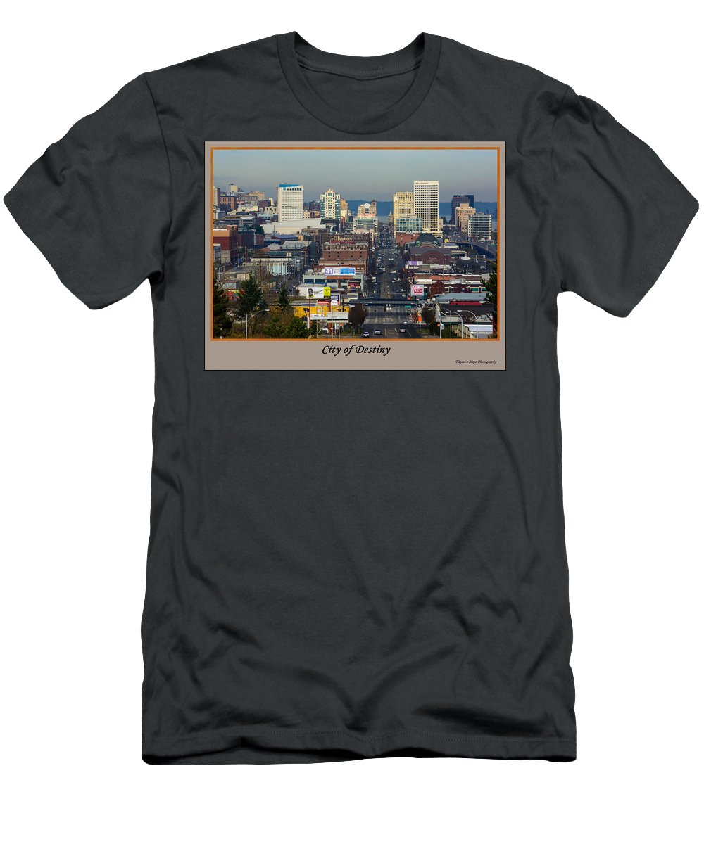 Downtown Tacoma Men's T-Shirt (Athletic Fit) featuring the photograph Tacoma City Of Destiny by Tikvah's Hope