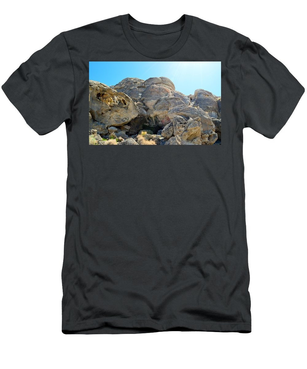 Lichen Men's T-Shirt (Athletic Fit) featuring the photograph Tagged Rocks by Brent Dolliver